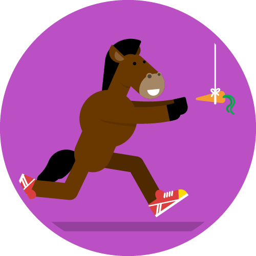 Dot Pixel - We Compete - Illustration - Horse Chasing a Carrot